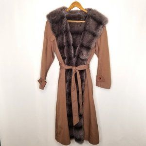 {Vintage}Brown Gray Faux Fur Front Tie Trench Coat